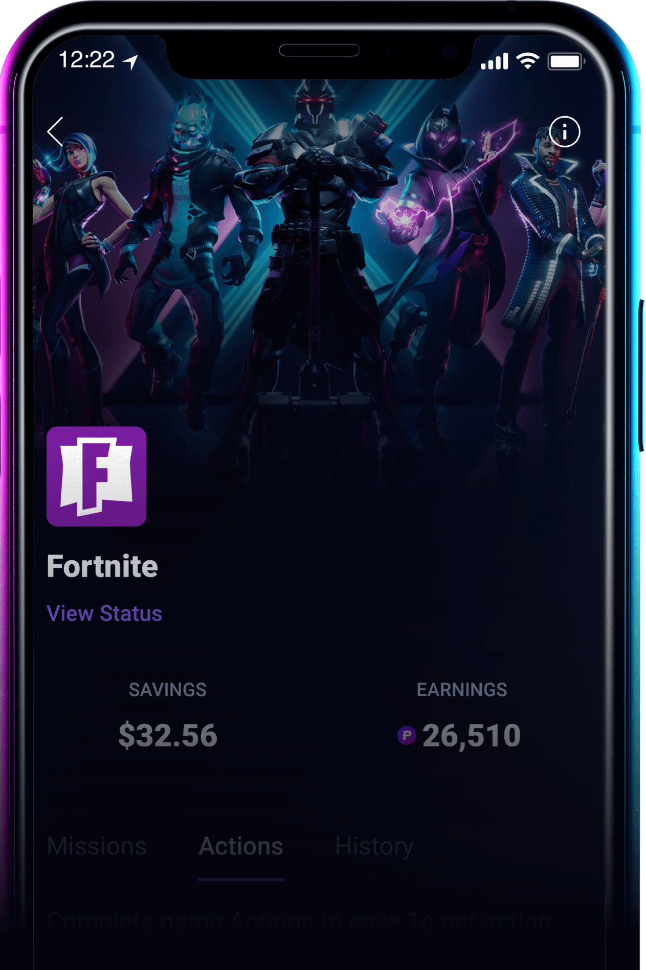 a phone screen showing game based savings